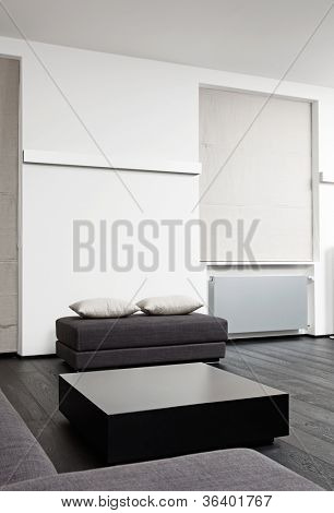 Part of modern sitting room interior in black and white tones