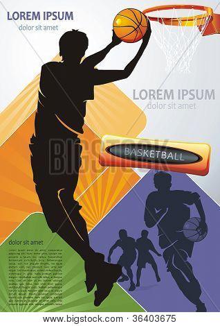 Aktion-Spieler. Vektor-Illustration Sport Serie. Basketball-Team auf abstrakten Hintergrund