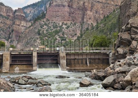 Shoshone Dam on Colorado RIver in Glenwood Canyon diverting water for the oldest hydroelectric plant in Colorado