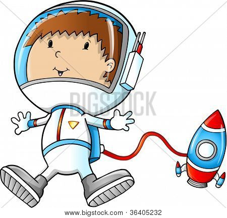 Astronaut space Walking Vector Illustration