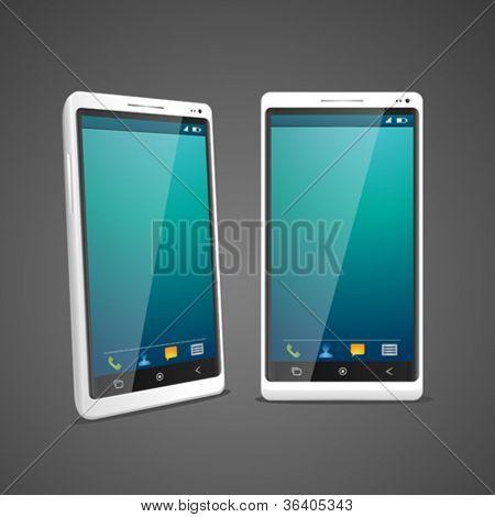 Blanco smartphone en perspectiva 2