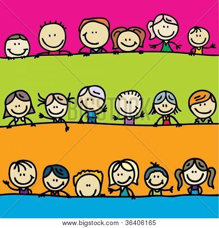 Doodle borders of happy kids