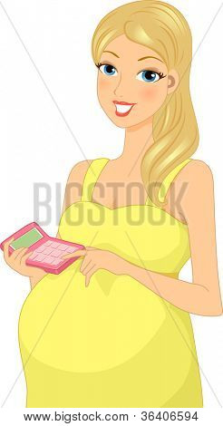 Illustration of a Pregnant Woman Calculating Her Budget for Her Pregnancy