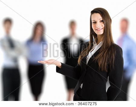 Portrait of a woman introducing her team