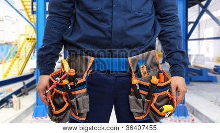 Closeup of a worker's bag