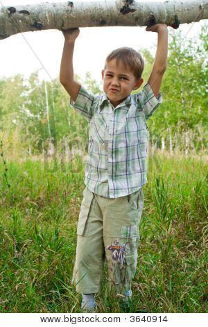 Boy Lifting Up A Log