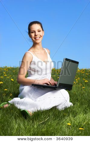 Woman, Laptop, Blue Sky