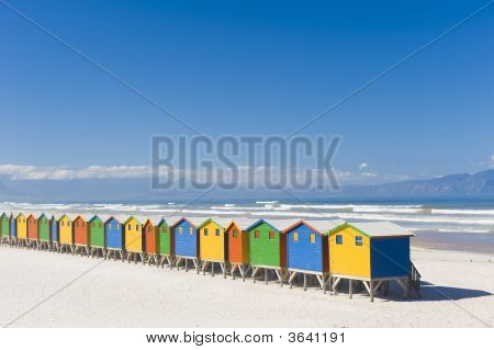 Colorful Dressing Huts On The Beach