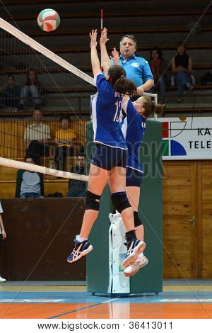 KAPOSVAR, HUNGARY - APRIL 22: Unidentified payers in action at the Hungarian I. League volleyball game Kaposvar (blue) vs Budai XI. SE (red), April 22, 2012  in Kaposvar, Hungary.