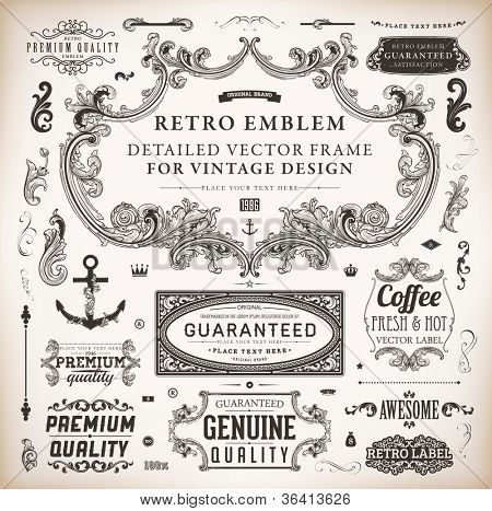 Vector set of calligraphic design elements: page decoration, Premium Quality and Satisfaction Guarantee Label, antique and baroque frames and floral ornaments collection