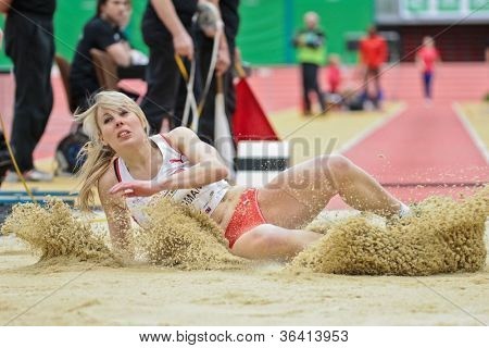 LINZ, AUSTRIA - FEBRUARY 2: Amy Woodman (Great Britain) places 5th in the women's long jump event on February 2, 2012 in Linz, Austria.