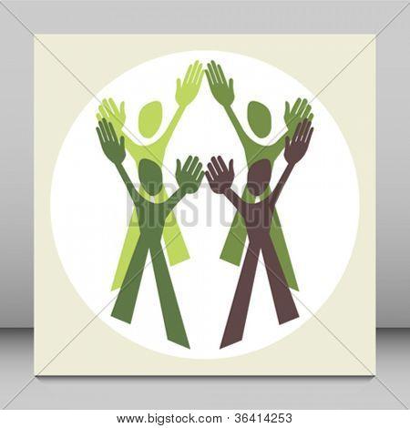 Human teamwork design vector.