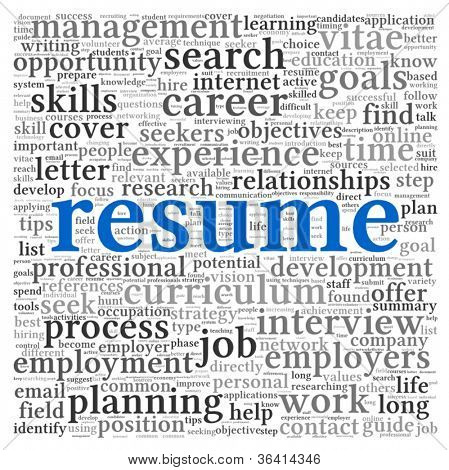 Resume concept in word tag cloud on white background