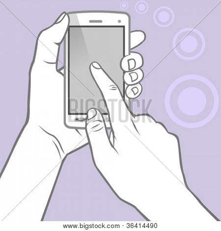 Hands Holding the Smart Phone and Index Finger using the Touch Screen