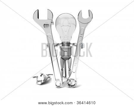 "The robot ""bulb"" Holds in a hands tools isolated on a white background"
