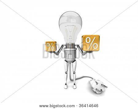 """Der Roboter """"Bulb"""" hält in einem Prozentzeichen hände isoliert auf weißem Hintergrund"""