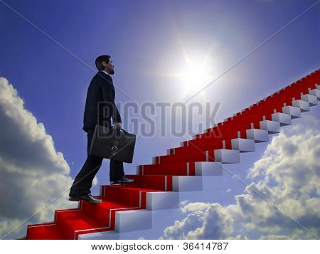 Business man climbs up to the top of 3D success stairs steps