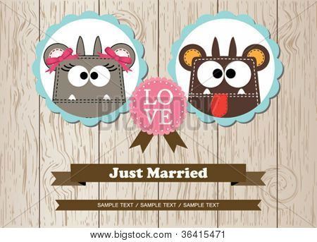 Cute monsters just married invitation card