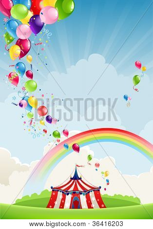Circus, rainbow and balloons with space for text