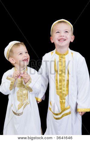 Cute Boys With Traditional Arabian Dress