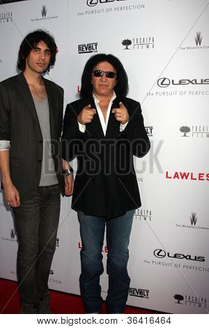 "LOS ANGELES - AUG 22:  Nick Simmons, Gene Simmons arrives at the ""Lawless"" LA Premiere at ArcLight Theaters on August 22, 2012 in Los Angeles, CA"