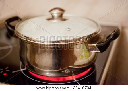 The image of a pan on electric stove