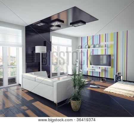 moderne concept van woonkamer design (afbeelding) Stock ...