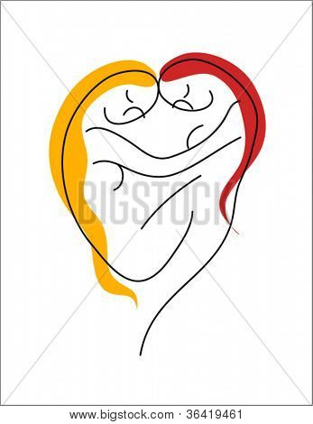 abstract line drawing of lesbian couple