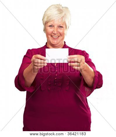 Old Woman Showing  Paper On White Background
