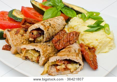 Pork rolls with sundried tomatoes and mozzarella