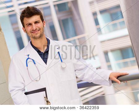 Portrait Of Young Doctor, Outdoor