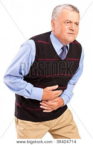 Mature man overwhelmed with a pain in the stomach isolated on white background