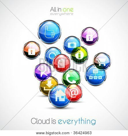 Cloud computing concept background with a lot of glossy sphere icons with feed, like, home, phone, locked,networking and so on!