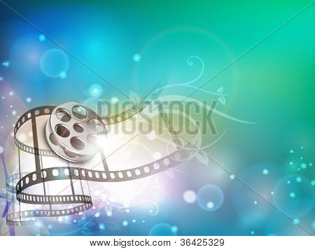 Film stripe or film reel on shiny colorful movie background. EPS 10