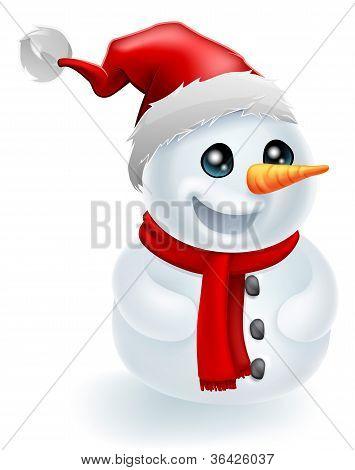 Santa Hat Christmas Snowman