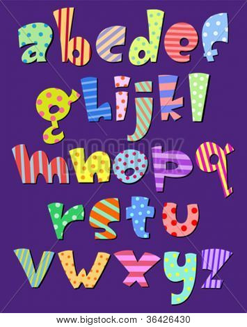 Colorful lower case pattern alphabet