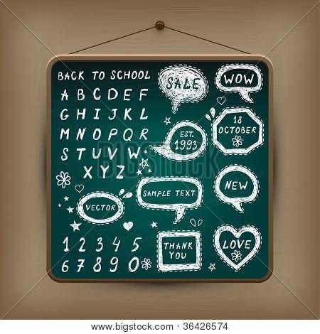 Hand-drawn speech bubbles illustration on chalkboard