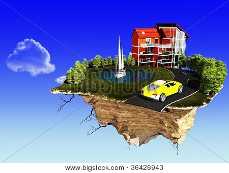The house on an island on a background of blue sky.