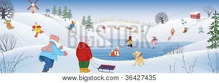 Children having fun sledding ice skating and skiing in the winter on the rural landscape background. All objects are grouped.