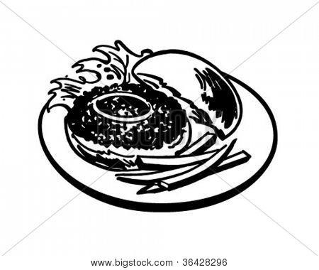 Hamburger And Fries - Retro Clipart Illustration