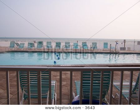 Pool With Beach In Background