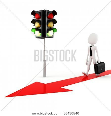 3d man green light for business!