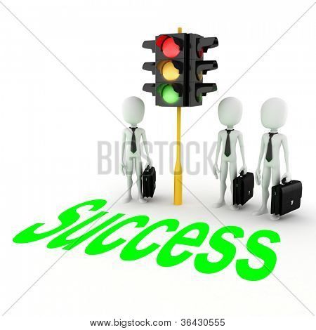 3d man gren light for business!