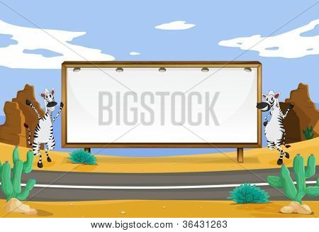 illustration of zebra and white board on the road