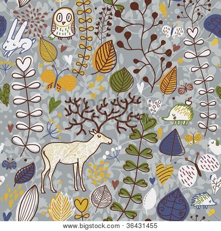 Vector seamless pattern with deer, owl and hedgehog. Seamless pattern can be used for wallpaper, pattern fills, web page background, surface textures