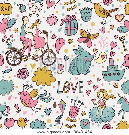 Nice romantic seamless pattern. Lovely background in cartoon style for stylish wallpapers in pastel colors for Valentines Day.