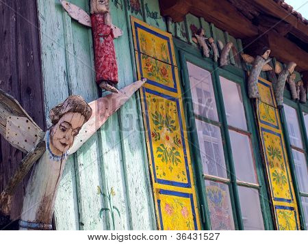 Fragment Of An Old Cottage With The Angels