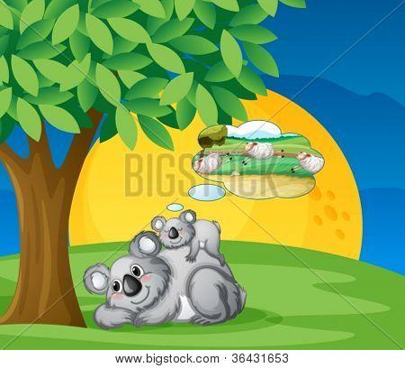 illustration of bears sitting and thinking under tree