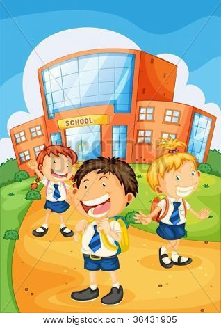 illustration of a kids infront of school