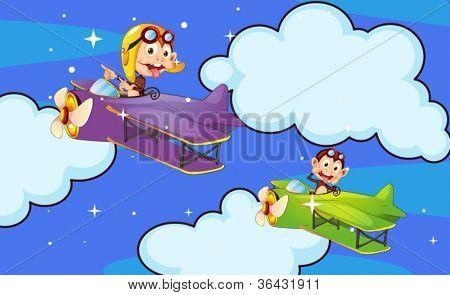 Ilustración de un mono en el avión en una naturaleza hermosa